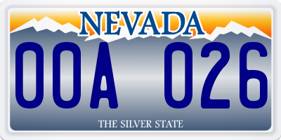 NV license plate 00A026