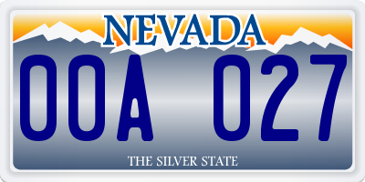 NV license plate 00A027