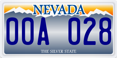 NV license plate 00A028