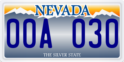 NV license plate 00A030