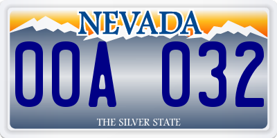NV license plate 00A032