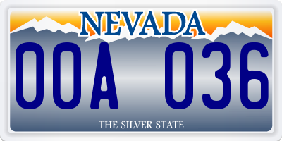 NV license plate 00A036