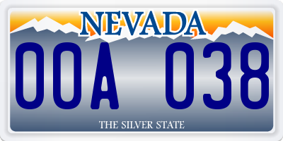 NV license plate 00A038