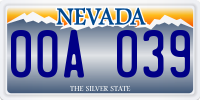 NV license plate 00A039