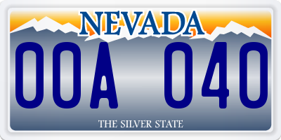 NV license plate 00A040