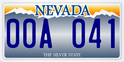 NV license plate 00A041