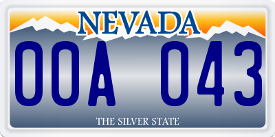 NV license plate 00A043