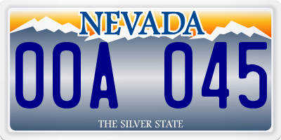 NV license plate 00A045