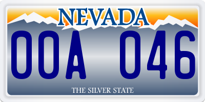 NV license plate 00A046