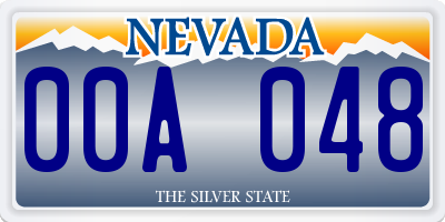 NV license plate 00A048