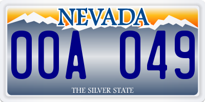NV license plate 00A049