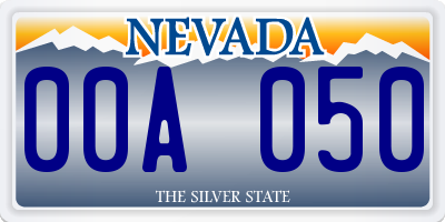 NV license plate 00A050