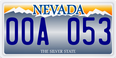 NV license plate 00A053