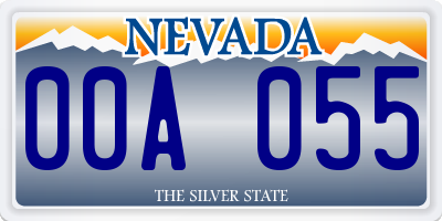 NV license plate 00A055