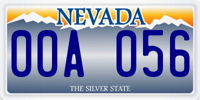 NV license plate 00A056