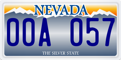 NV license plate 00A057