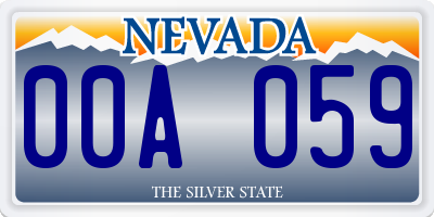 NV license plate 00A059
