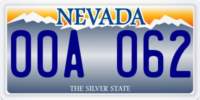 NV license plate 00A062