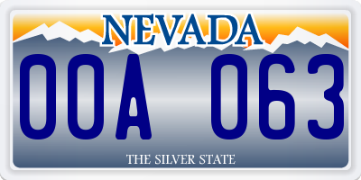 NV license plate 00A063