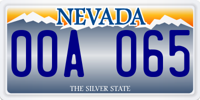 NV license plate 00A065
