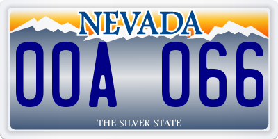 NV license plate 00A066