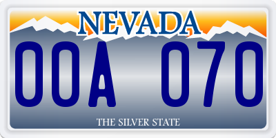 NV license plate 00A070