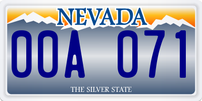 NV license plate 00A071