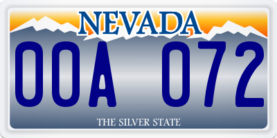 NV license plate 00A072