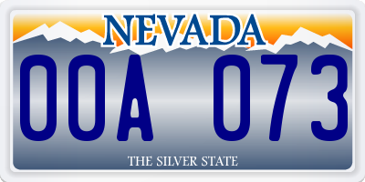 NV license plate 00A073