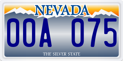 NV license plate 00A075