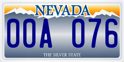 NV license plate 00A076