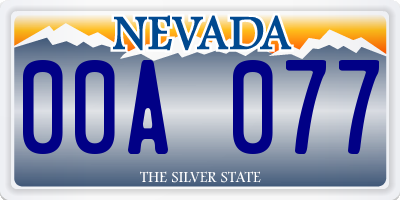 NV license plate 00A077