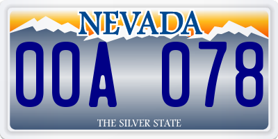 NV license plate 00A078