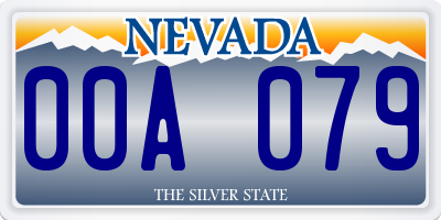 NV license plate 00A079