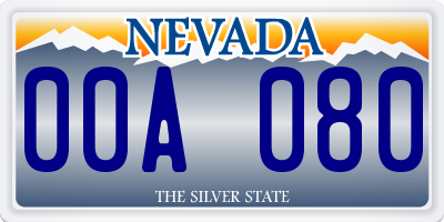 NV license plate 00A080