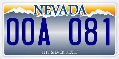 NV license plate 00A081