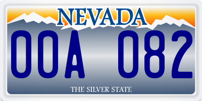 NV license plate 00A082