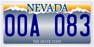 NV license plate 00A083