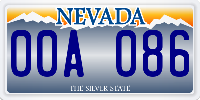 NV license plate 00A086
