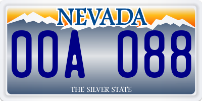 NV license plate 00A088