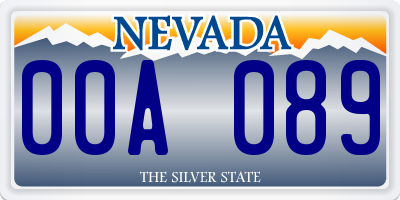 NV license plate 00A089
