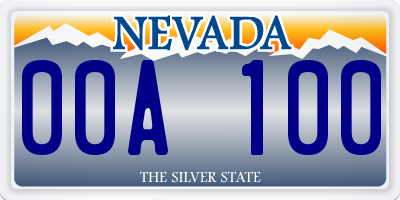 NV license plate 00A100