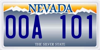 NV license plate 00A101