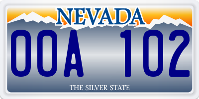 NV license plate 00A102