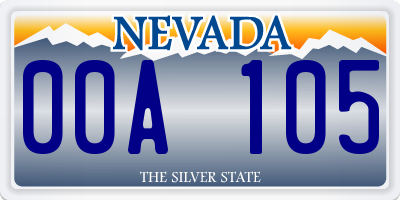 NV license plate 00A105