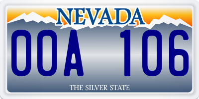 NV license plate 00A106