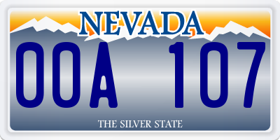 NV license plate 00A107
