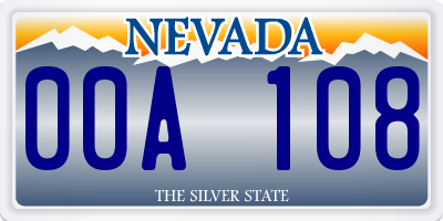NV license plate 00A108