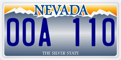 NV license plate 00A110