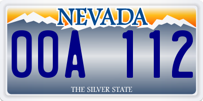 NV license plate 00A112